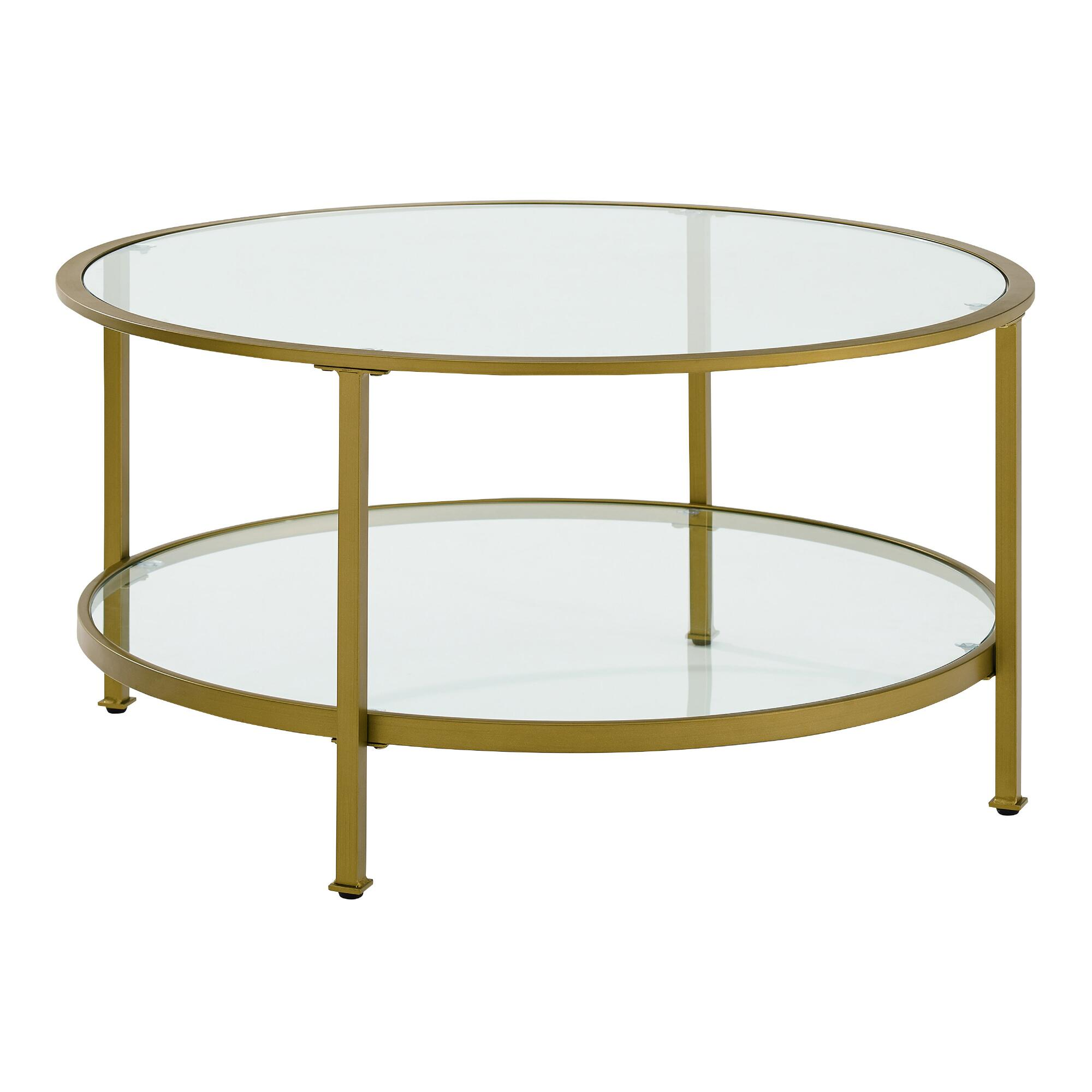 - Round Gold Mid Century Milayan Coffee Table With Shelf World Market