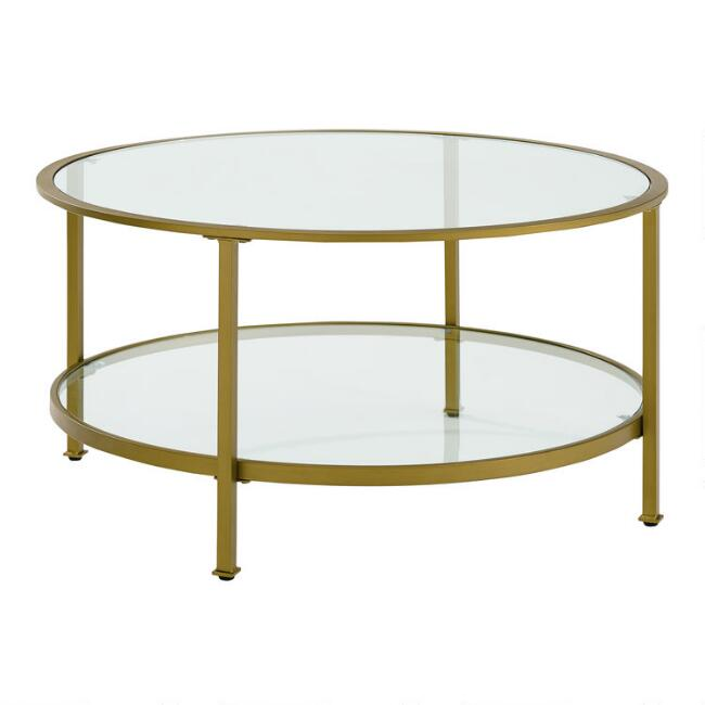 Milayan Coffee Table With Shelf, Round Metal And Glass Coffee Table