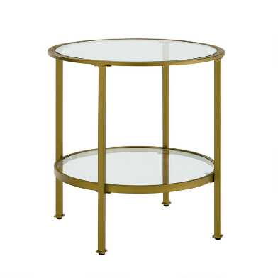 Round Metal and Glass Milayan End Table With Shelf