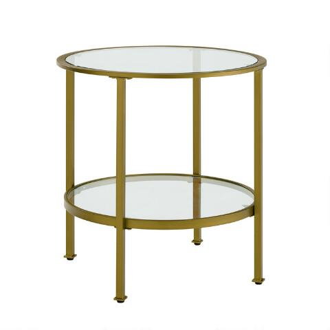 Round Gold Milayan End Table With Shelf