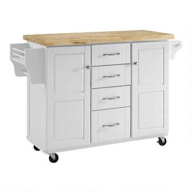 White and Natural Wood Top Harper Kitchen Cart