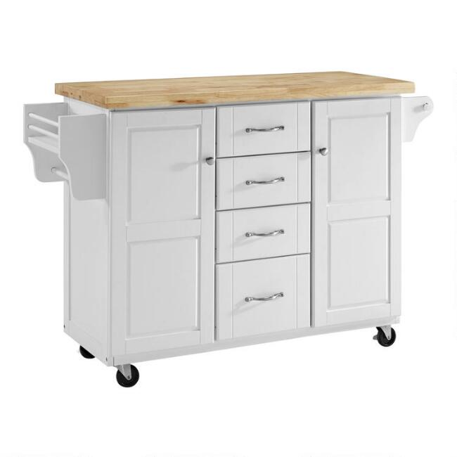 Natural Wood Top Harper Kitchen Cart