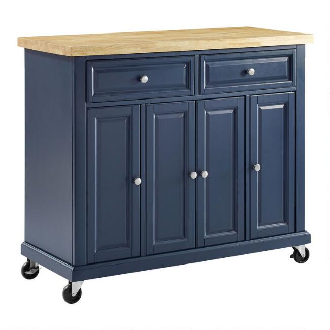 Navy Wood and Butcher Block Emma Kitchen Island