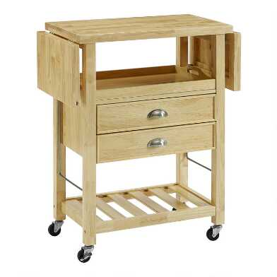 Wood Ashby Double Drop Leaf Kitchen Cart