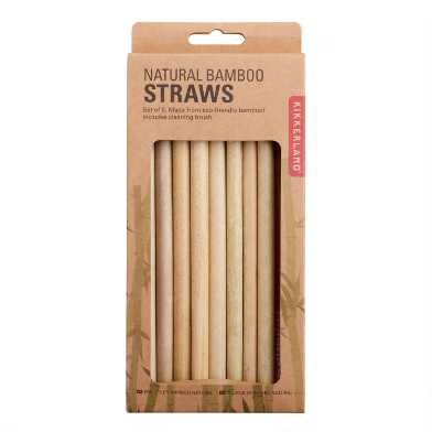 Kikkerland Natural Bamboo Straws 8 Pack