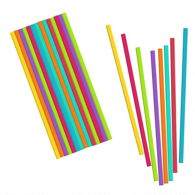 24 Pack Kikkerland Tall Bright Reusable Straws Set of 2