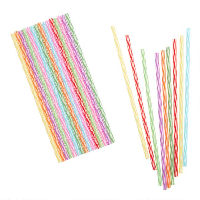 24 Pack Kikkerland Tall Rainbow Reusable Straws Set of 2