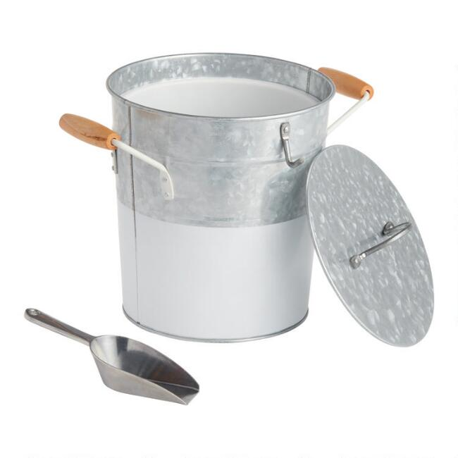 White and Galvanized Metal Ice Bucket with Lid