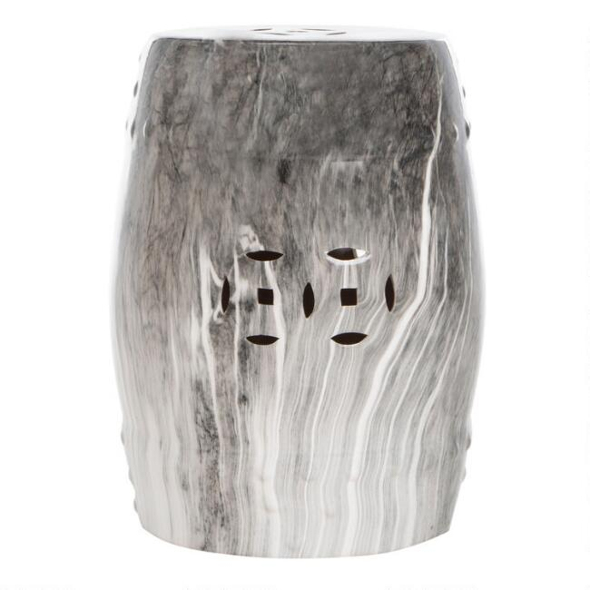 Gray and White Marbled Ceramic Outdoor Accent Stool