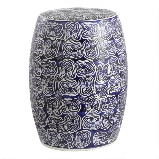 Navy and White Ceramic Olean Outdoor Accent Stool