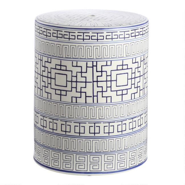 Navy and White Ceramic Shantou Outdoor Accent Stool