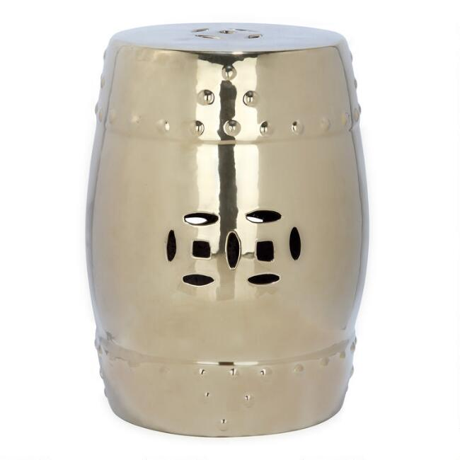 Gold Ceramic Tidore Outdoor Accent Stool