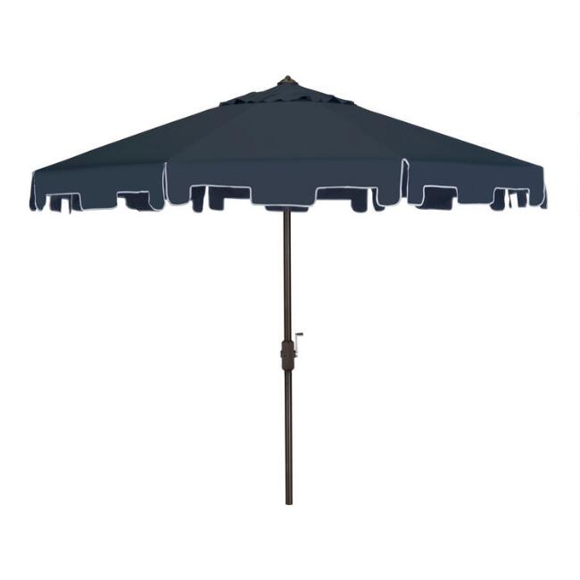 Navy and White Square Scallop 9 Ft Tilting Outdoor Umbrella