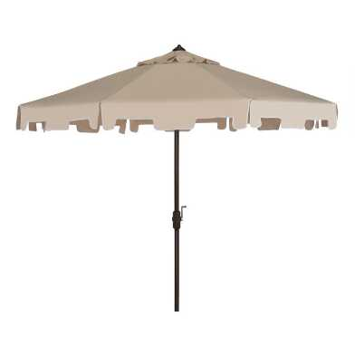 Beige and White Square Scalloped 9 Ft Tilting Patio Umbrella