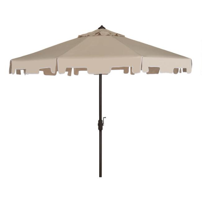 Beige and White Square Scallop 9 Ft Tilting Outdoor Umbrella