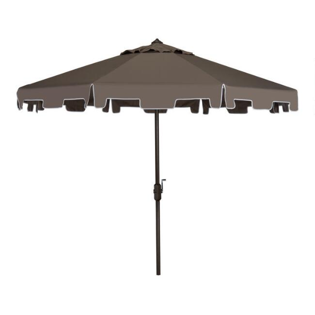 Gray and White Square Scallop 9 Ft Tilting Outdoor Umbrella