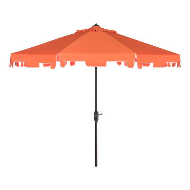 Orange & White Square Scalloped 9 Ft Tilting Patio Umbrella