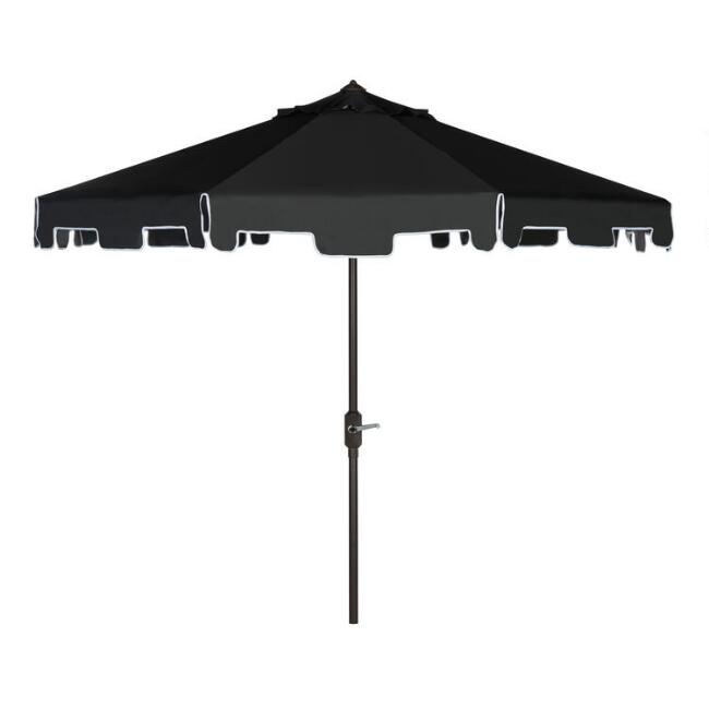 Black and White Square Scallop 9 Ft Tilting Outdoor Umbrella