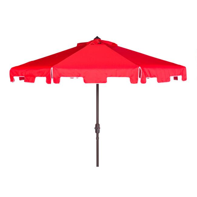 Red and White Square Scallop 9 Ft Tilting Outdoor Umbrella
