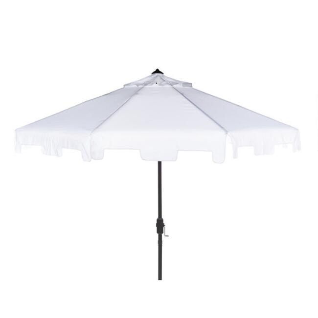 White Square Scallop 9 Ft Tilting Outdoor Umbrella
