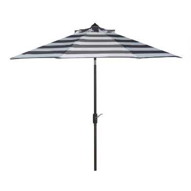 Gray and White Stripe 9 Ft Tilting Outdoor Umbrella