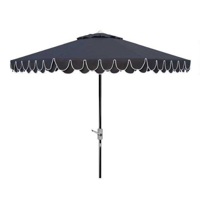 Navy and White Double Scalloped 9 Ft Tilting Patio Umbrella