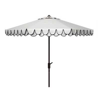 White and Navy Double Scallop 9 Ft Tilting Outdoor Umbrella