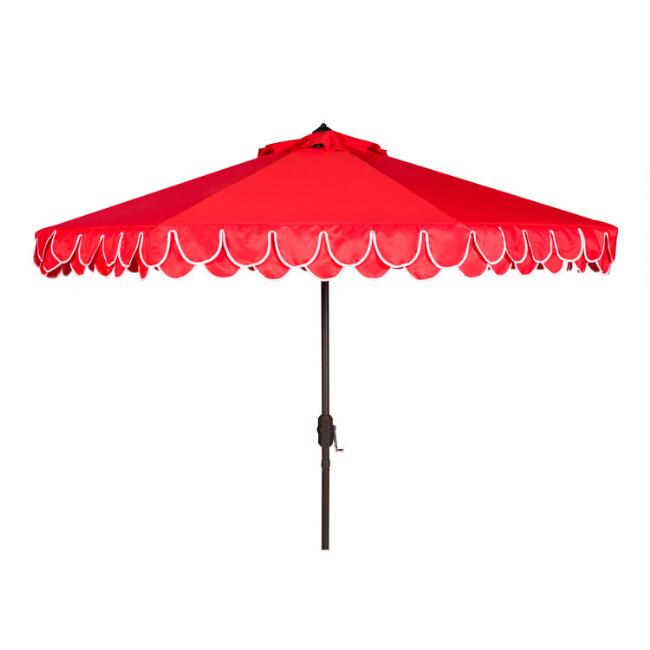 Red and White Double Scallop 9 Ft Tilting Outdoor Umbrella
