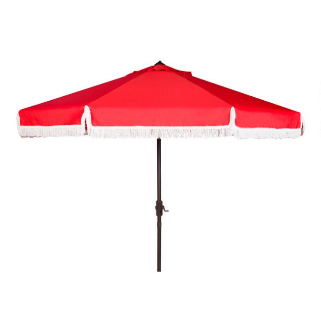Red and White Fringe 9 Ft Tilting Outdoor Umbrella