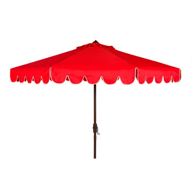 Red and White Single Scallop 9 Ft Tilting Outdoor Umbrella