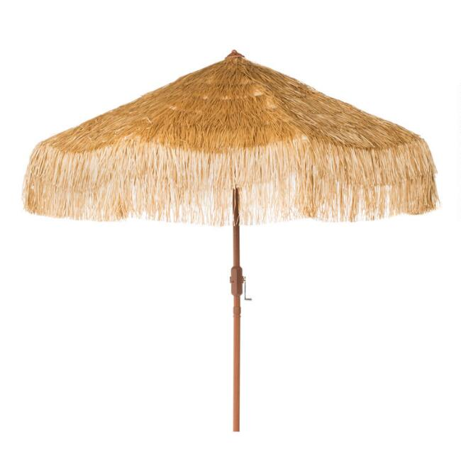 Thatched 9 Ft Tilting Outdoor Umbrella with Long Fringe