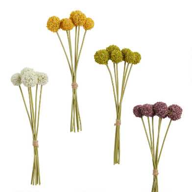 Mini Faux Spring Allium Bunches Set Of 4