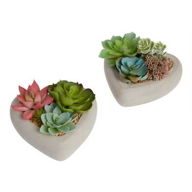 Faux Succulents In Heart Planters Set of 2