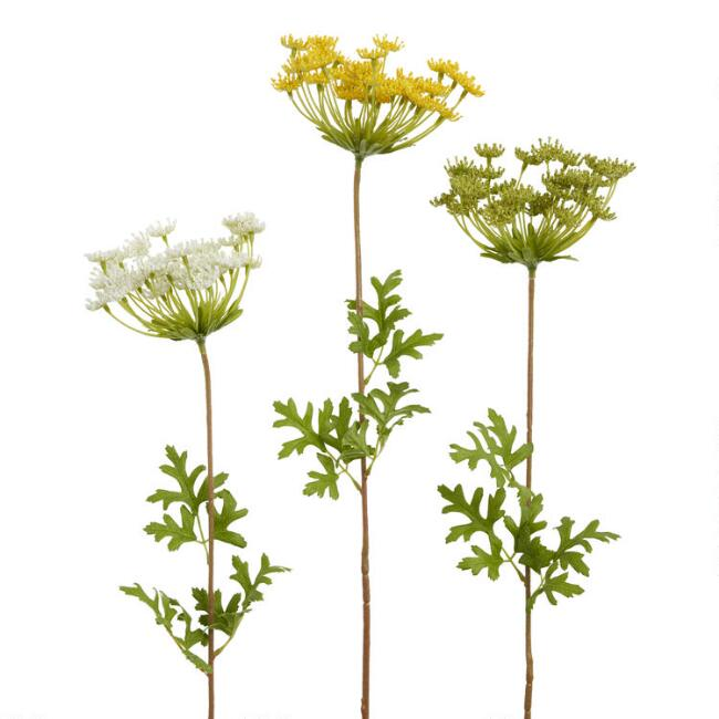 Large Faux Queen Anne's Lace Sprays Set Of 3