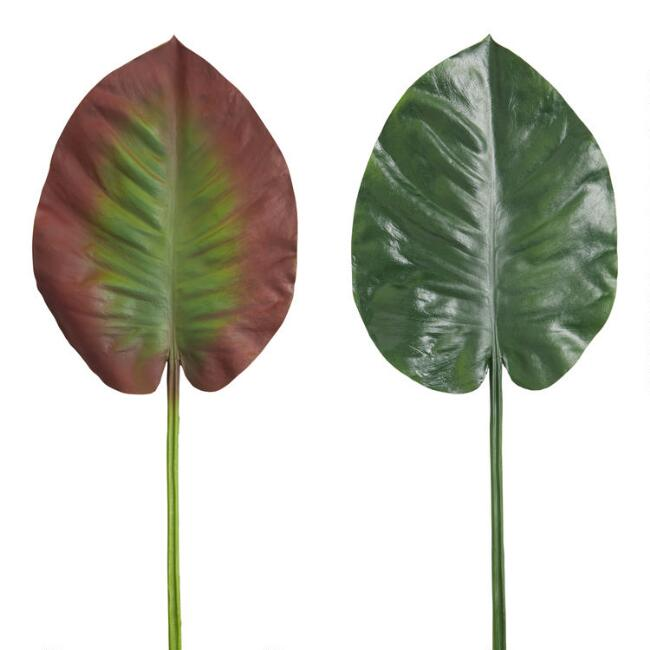 Faux Taro Tropical Leaf Stems Set Of 2