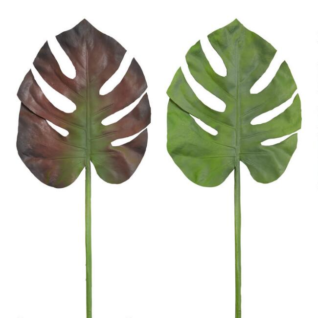 Faux Monstera Tropical Leaf Stems Set Of 2