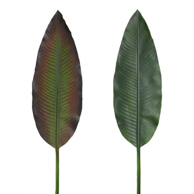 Faux Bird Of Paradise Tropical Leaf Stems Set Of 2