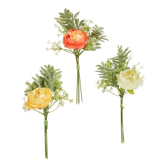 Faux Ranunculus And Mimosa Leaf Bundles Set Of 3