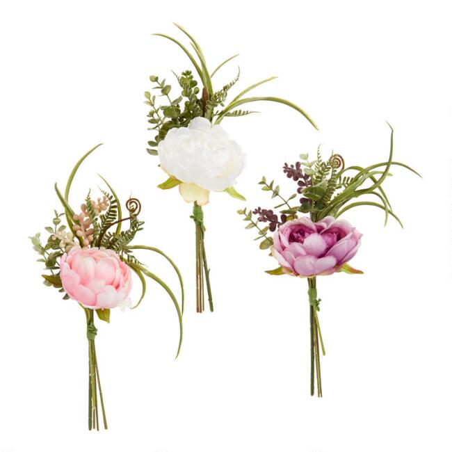Faux Peony And Succulent Bundles Set Of 3
