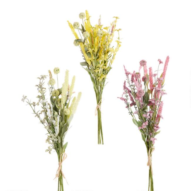 Faux Leafy Wildflower Bundles Set Of 3