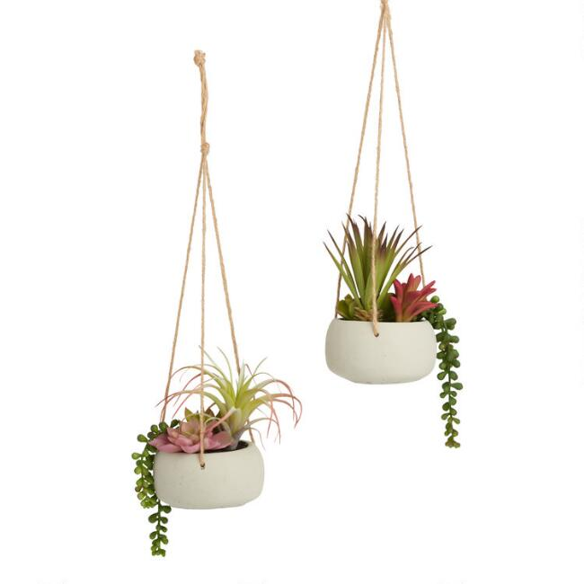 Faux Succulents In Cement Pots Hanging Decor Set of 2