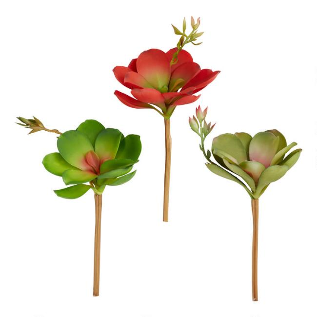 Faux Succulent And Flower Stems Set Of 3