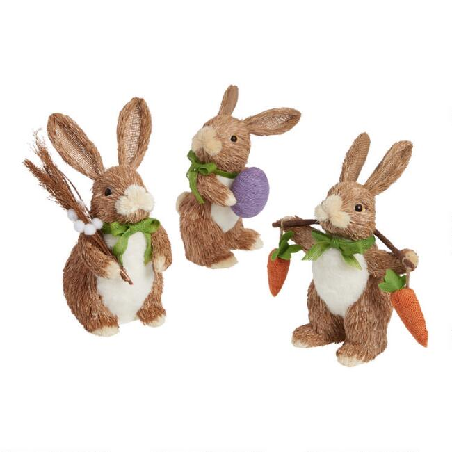 Brown Natural Fiber Spring Bounty Bunnies Set Of 3