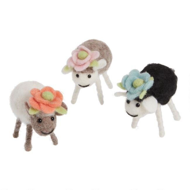Felted Wool Sheep With Flowers Set Of 3