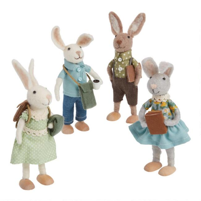 Felted Wool Bunnies With Books And Bags Set Of 4