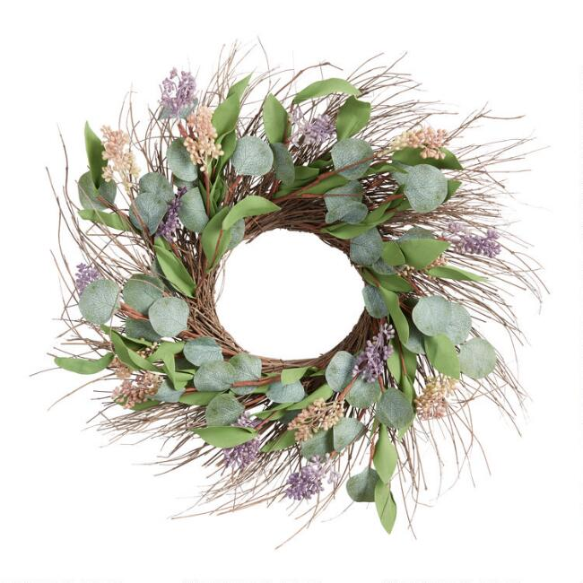 Faux Eucalyptus Leaves And Buds Twig Wreath