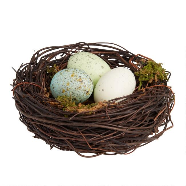 Mossy Vine Nest With Speckled Eggs Set of 2