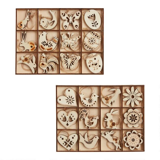 12 Pack Wooden Easter Boxed Ornaments Set of 2