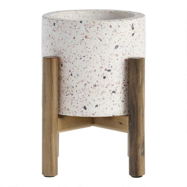 White Terrazzo Planter With Mango Wood Stand