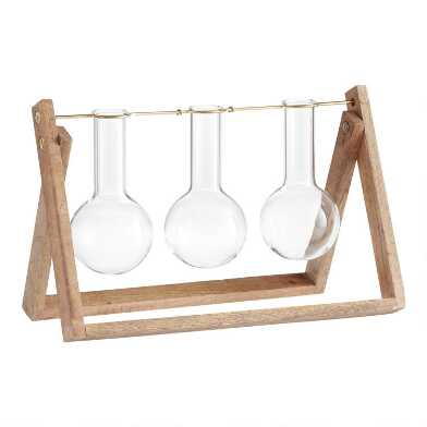Glass Three Bulb Bud Vase With Wood Easel